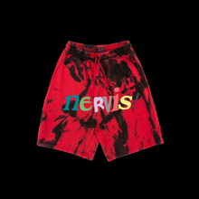 NERVIS RED BLACK TIE-DYE PUFF-PRINT SHORT/MEN