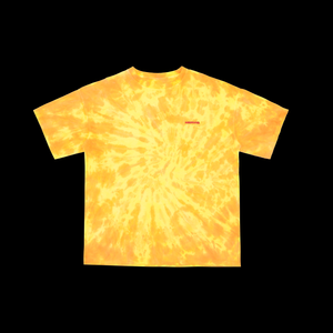 NERVIS ORANGE YELLOW TIE-DYED PUFF-PRINT TEE