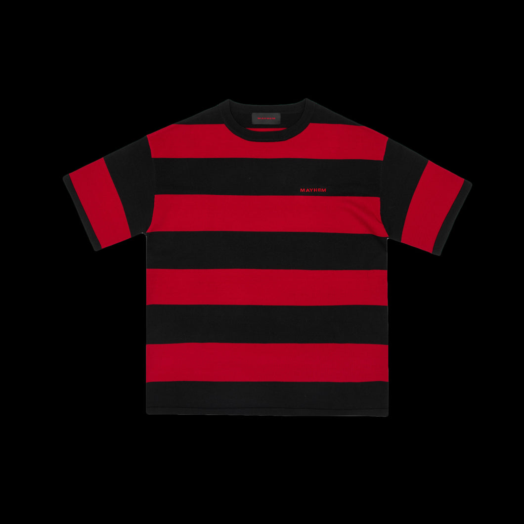 PRE ORDER MAYHEM BLACK & RED BASIC STRIPE TEE