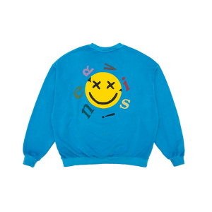 NERVIS BLUE SMILE PUFF-PRINT SWEATER