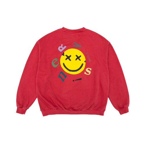 NERVIS RED SMILE PUFF-PRINT SWEATER