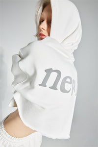 NERVIS WHITE PUFF-PRINT CROPPED HOODIE