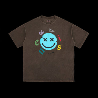 NERVIS BROWN SMILE PUFF-PRINT TEE
