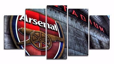 5 Panel Arsenal Logo Canvas Wall Painting, canvas art - Glocal Cart