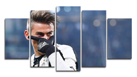 Paulo Dybala Celebration 5 Panel Canvas Wall Painting, canvas art - Glocal Cart