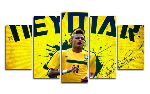 Neymar Brazil 5 Panel Canvas Wall Painting, canvas art - Glocal Cart