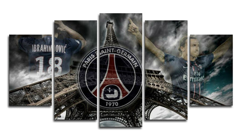 Paris Saint-Germain FC 5 Panel Canvas Wall Painting, canvas art - Glocal Cart
