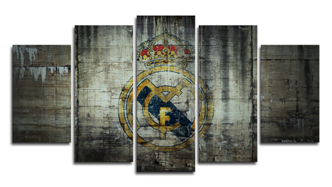 Real Madrid FC Logo 5 Panel Canvas Wall Painting, canvas art - Glocal Cart