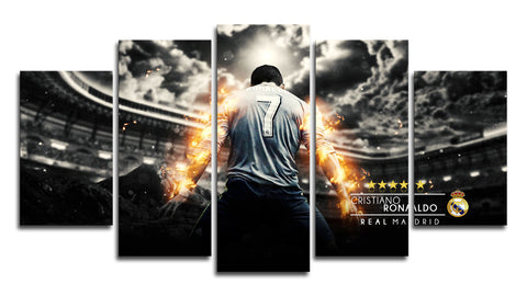 Cristiano Ronaldo Celebration 5 Panel Canvas Wall Painting, canvas art - Glocal Cart