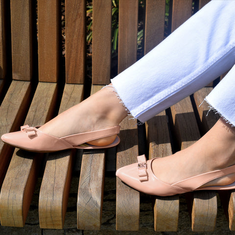 nude slingbacks look great with ankle grazing trousers