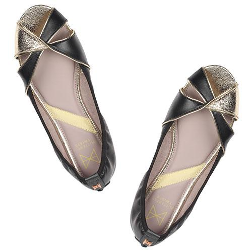 Introducing AMELIA, our first peep-toe ballerina. Fusing classic black faux leather and metallic gold detail at the toe, this glamorous pair will add some shimmer to any outfit. . An open sandal with crossed over detail at the toe. Black faux leather paired with contrasting gold metallic detail. Cushioning memory foam insoles for added comfort. Twist Tech Technology. Durable, slip-resistant rubber soleåÊ We deliver to over 50 countries worldwide. to see which countries we deliver to please vis
