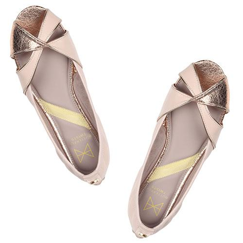 Introducing AMELIA, our first peep-toe ballerina. Fusing classic pink faux leather and metallic gold detail at the toe, this glamorous pair will add some shimmer to any outfit. . An open sandal with crossed over detail at the toe. Pink faux leather paired with contrasting gold metallic detail. Cushioning memory foam insoles for added comfort. Twist Tech Technology. Durable, slip-resistant rubber soleåÊ We deliver to over 50 countries worldwide. to see which countries we deliver to please visit