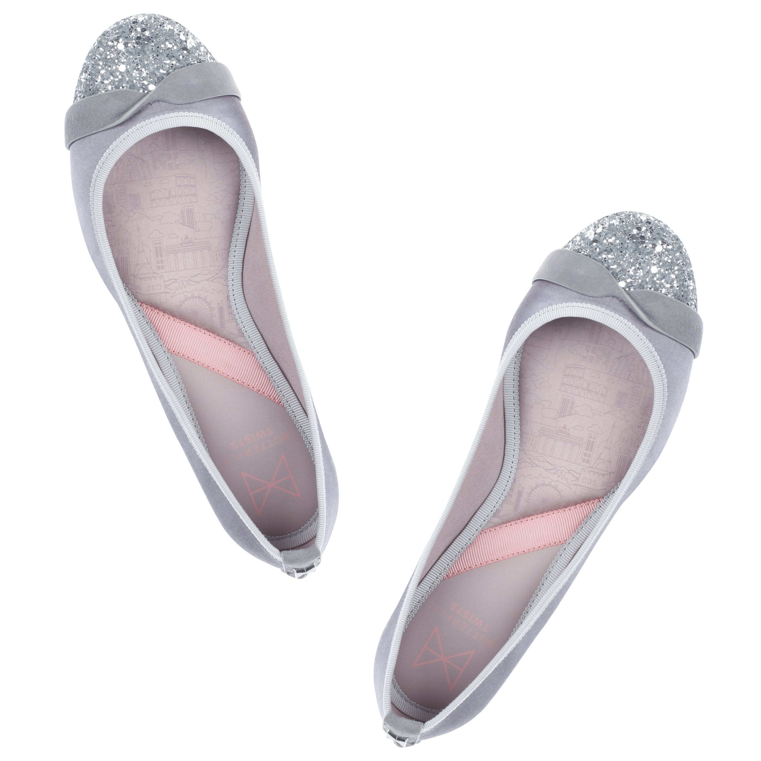 CHARLOTTE is utterly feminine and a sophisticated wardrobe staple. Our signature twist appears across a silver glitter toe cap, contrasting to luxurious grey satin. An elegant, almond toe shaped ballerina Sumptuous grey satin paired with a silver glitter toe cap Twist detailing across the toe for added style A breathable, soft cotton lining Cushioning memory foam insoles for added comfort Durable, skid resistant rubber sole We deliver to over 50 countries worldwide. to see which countries we del