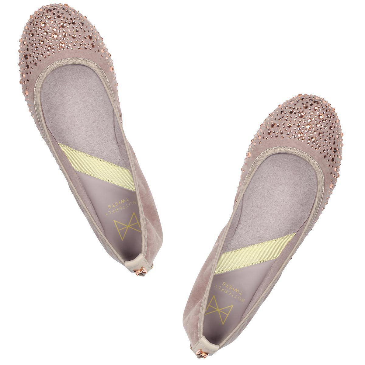 Office party style made easy with CHRISTINA. Pairing faux nude suede with sparkling toe crystals, this style will take you from work-to-play. A classic round toe silhouette Soft faux nude suede sprinkled with gemstones for elegance Soft, comfortable faux suede lining Cushioning memory foam insoles for added comfort Folding Twist Tech Technology Flexible rubber sole: folding shoe We deliver to over 50 countries worldwide. to see which countries we deliver to please visit outåÊFAQåÊsection. We