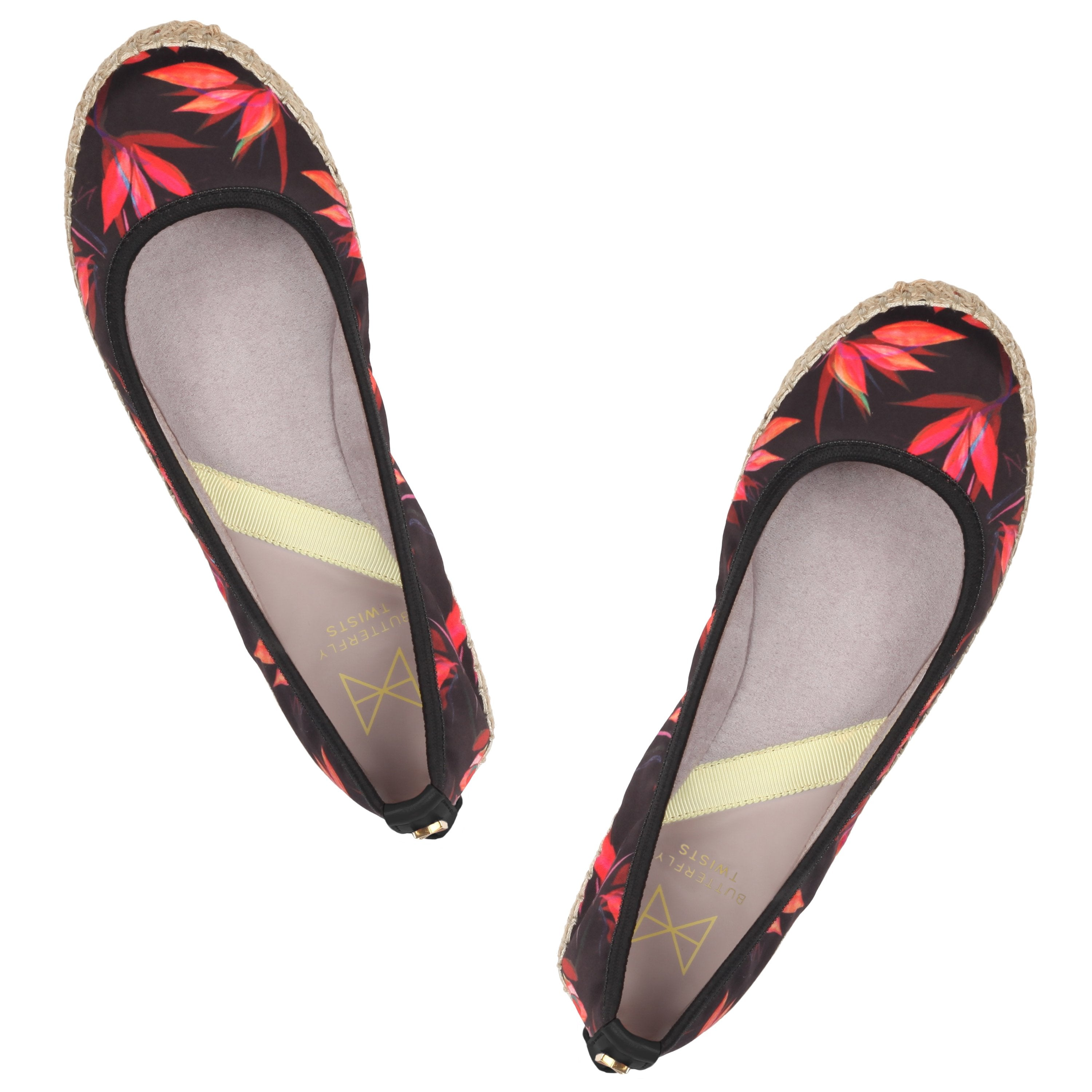 Step into summer with our espadrille inspired GIGI. Pairing a natural raffia jute sole with our all-new Birds of Paradise print on black satin, this style is a Summer essential. A round toe silhouette A raffia jute sole combined with a black canvas upper Soft, comfortable faux suede lining Cushioning memory foam insoles for added comfort Twist Tech Technology Flexible rubber sole: folding shoe Vegan We deliver to over 50 countries worldwide. to see which countries we deliver to please visit our