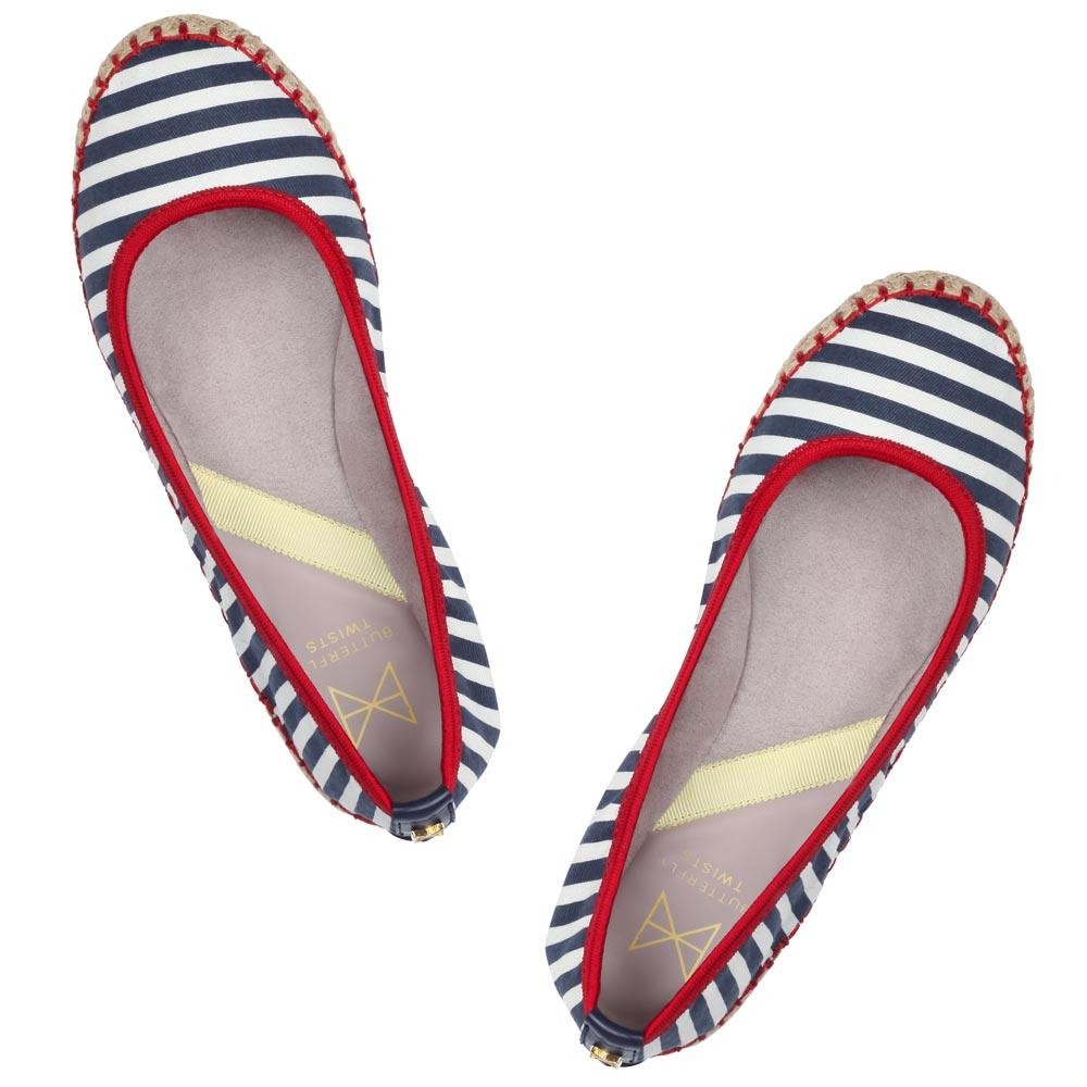 Step into summer with our espadrille inspired GIGI. Pairing a natural raffia jute sole with a nautical striped canvas, this style is a holiday essential. A round toe silhouette A raffia jute sole paired with a navy and white stripe canvas upper Red trim and stitch detailing for added style Soft, comfortable faux suede lining Cushioning memory foam insoles for added comfort Twist Tech Technology Flexible rubber sole: folding shoe Vegan We deliver to over 50 countries worldwide. to see which count