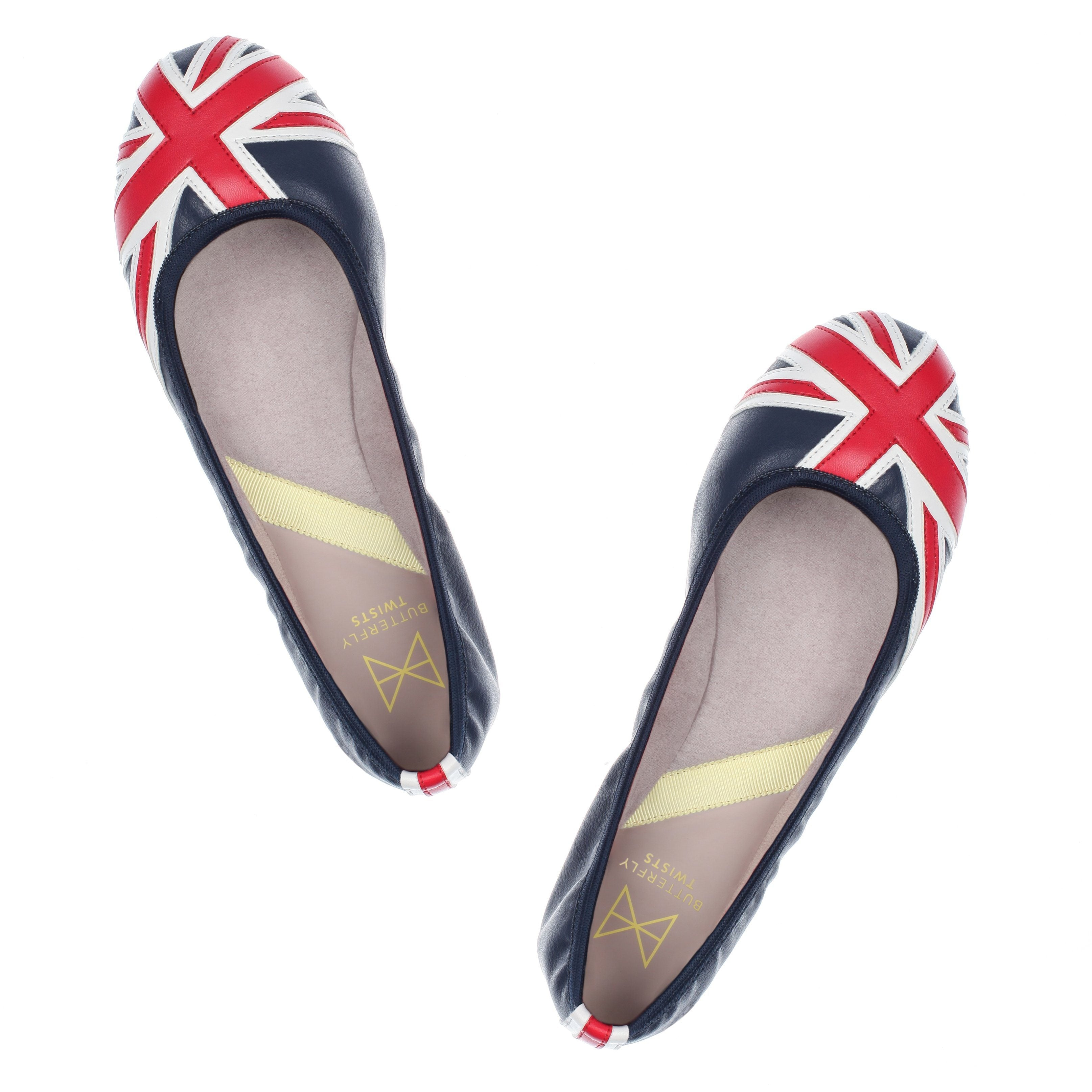Our iconic style that takes the DNA of Butterfly Twists and gives it a modern twist to bring you bright, bold ballerinas! The original Union Jack Ballet Flat. Soft faux leather upper Super comfy memory foam insole Folding Twist Tech Technology Our patented, lightweight, non-slip resistant sole Moisture wicking lining Drawstring dust bag included We deliver to over 50 countries worldwide. to see which countries we deliver to please visit our FAQ section. We accept unworn products purchased exclus