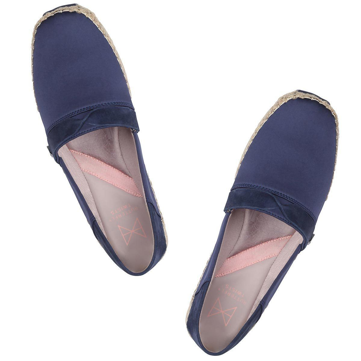 MAYA brings together comfort, ease and style; with the option to fold down the back counter for slip on convenience. Navy satin and suede detailing combine for a timeless finish. A versatile, square toe slip on with a foldable back counter Lightweight EVA platform with raffia jute wrap Silky navy satin and tactile suede A breathable, soft cotton lining Cushioning memory foam insoles for added comfort Twist Tech Technology Durable, skid resistant rubber sole We deliver to over 50 countries worldw