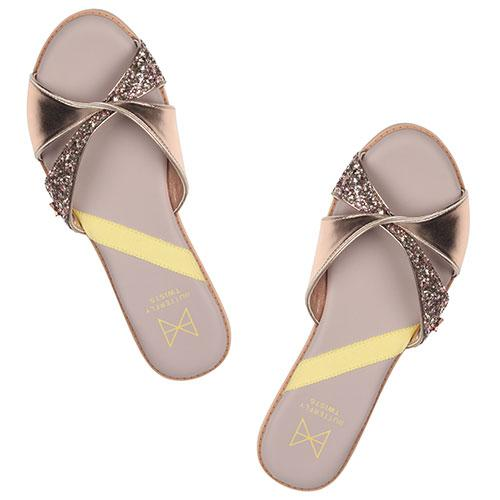 Introducing our new twist slide, ORA. Executed with a cool flash of rose gold and metallic this style has been created for that day-to-night transition, from beach to bar wear. An open toe slide Twist detailing combining rose gold glitter and faux leather Cushioning memory foam insoles for added comfort Twist Tech Technology Durable, skid resistant rubber sole We deliver to over 50 countries worldwide. to see which countries we deliver to please visit outåÊFAQåÊsection. We accept unworn prod