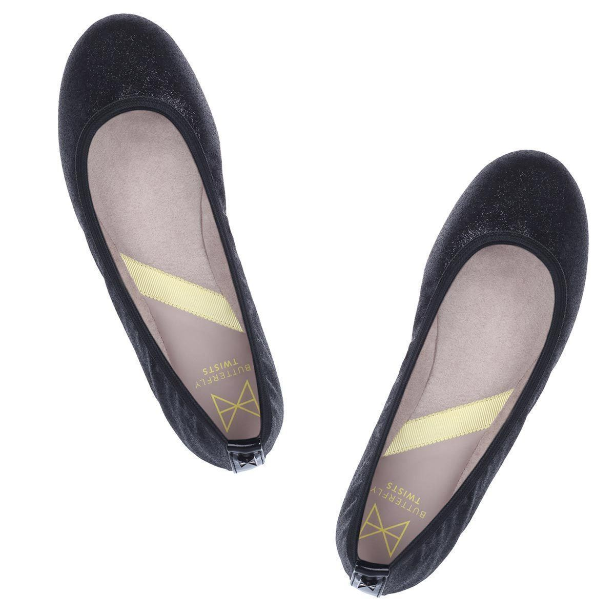 Be simple yet elegant in our round toe ballerina SOPHIA. Combining a black glitter upper with a feminine shape, this style will take you from day to night. A classic round toe silhouette Sparkly black glitter upper Soft, comfortable faux suede lining Cushioning memory foam insoles for added comfort Folding Twist Tech Technology Flexible rubber sole: folding shoe We deliver to over 50 countries worldwide. to see which countries we deliver to please visit outåÊFAQåÊsection. We accept unworn pr