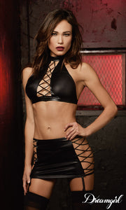 Two-piece, faux-leather-look garter set.