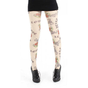 PAMELA MANN-Love Tattoo Printed Tights