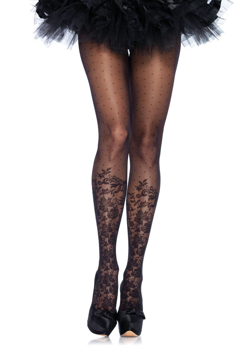 Floral Accent Knee Pantyhose