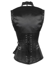 Steampunk Overbust Black Corset with Detachable Belt-VG-CD-2847