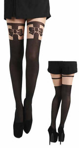PAMELA MANN-BOW OVER THE KNEE SUSPENDER TIGHTS (NATURAL/BLACK)