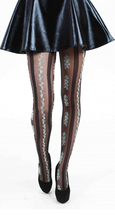 PAMELA MANN-FLORAL STRIPE TIGHTS