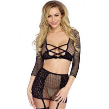 Lace Your Net Crop-Top, G-String & Garter Skirt-LEG-530949