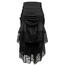 Vintage Gothic Black High Waist Button Lace Trim Ruffled High-low Skirt - MTN17138