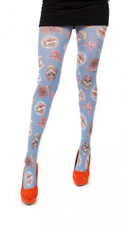 PAMELA MANN-SKULL & ROSES PRINTED TIGHTS (PALE BLUE)