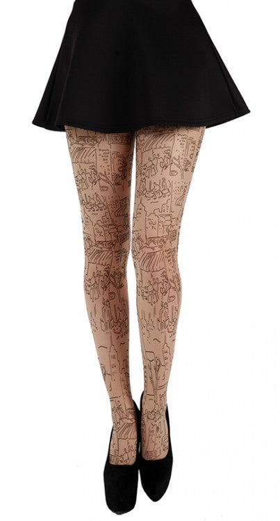 PAMELA MANN-SKYSCRAPE TATTOO TIGHTS (BLACK/NUDE)