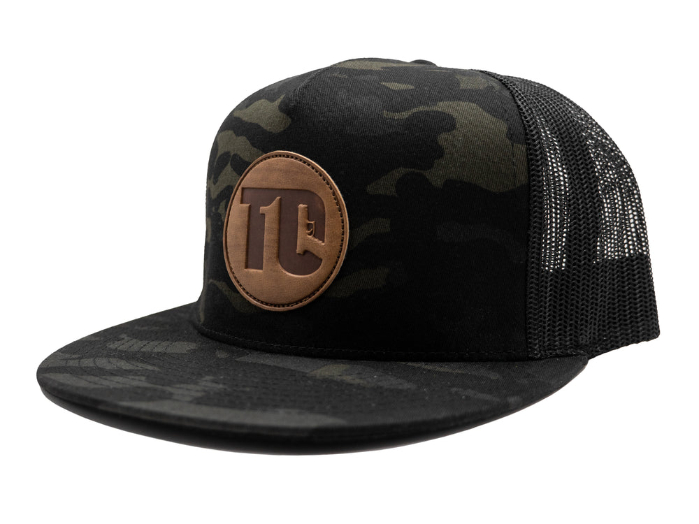 T1C - Leather Patch - Black Multicam - Flat Bill