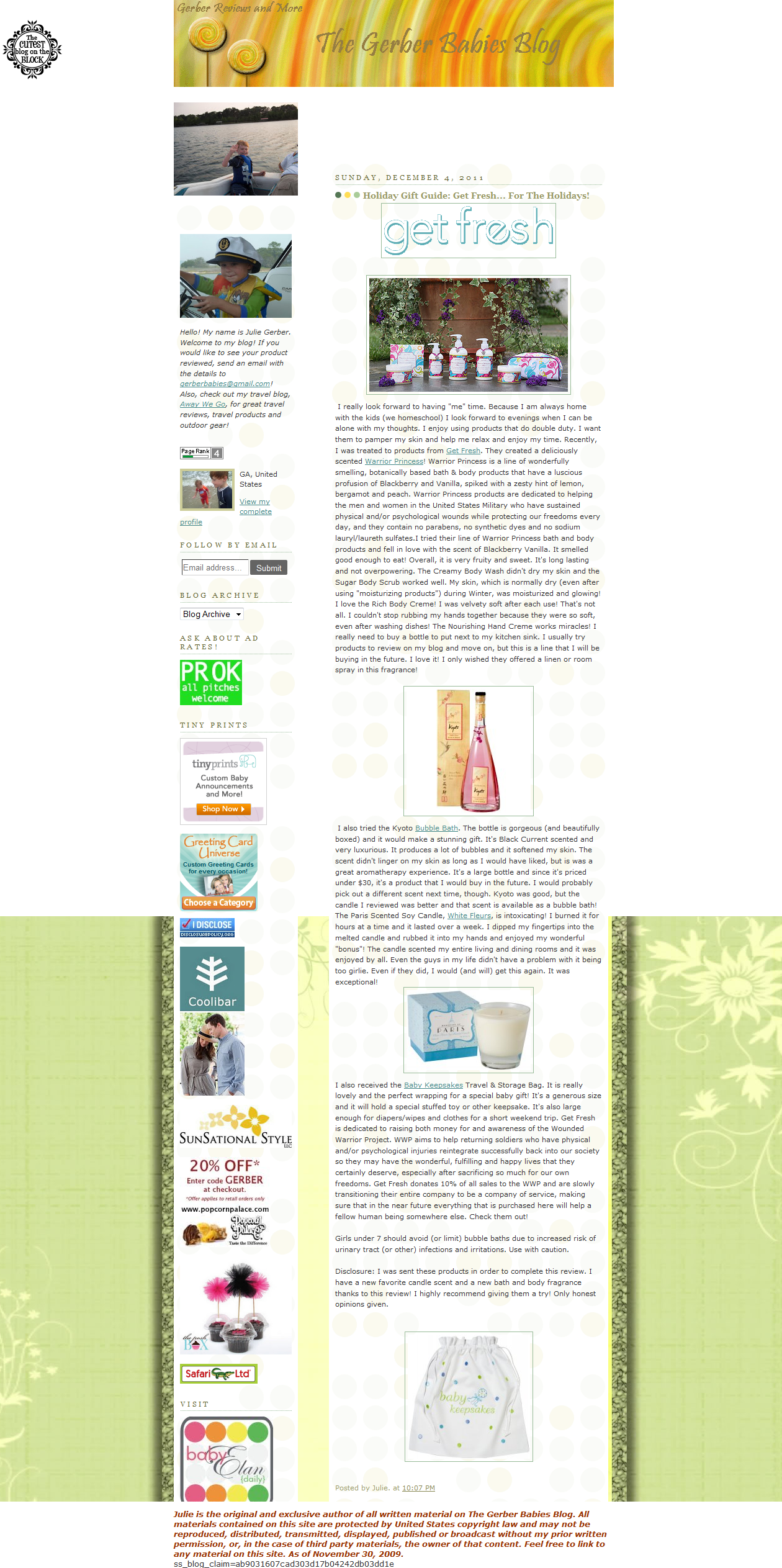 snapshot of the gerber babies blog about get fresh new warrior princess, bubble bath, candle, travel and storage bag