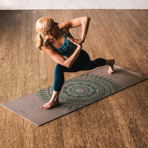 Gaiam Premium Print Longer/Wider Yoga Mat, Teal Marrakesh, 5mm