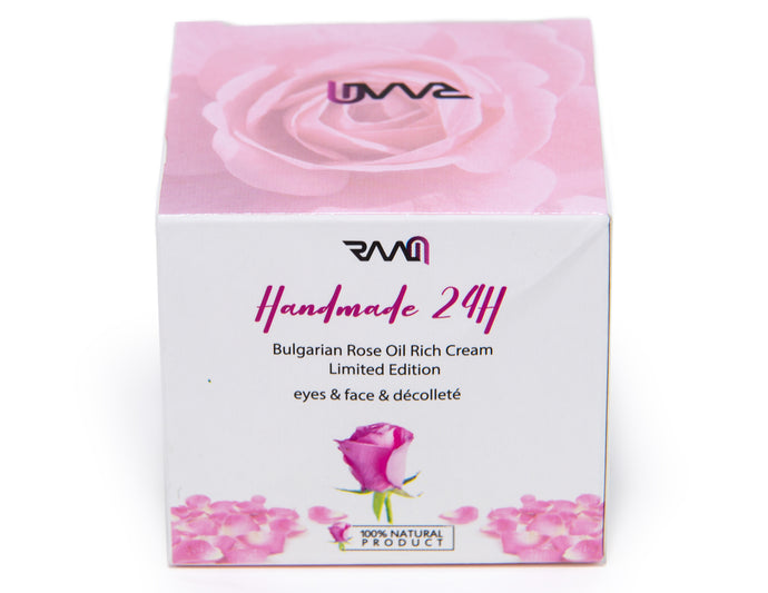 Handmade 24H Bulgarian Rose Oil Rich Cream for Eyes, Neck and decolletage - Limited Edition