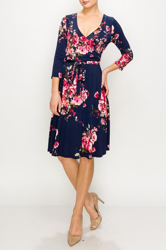 Navy Pink Floral Wrap Dress
