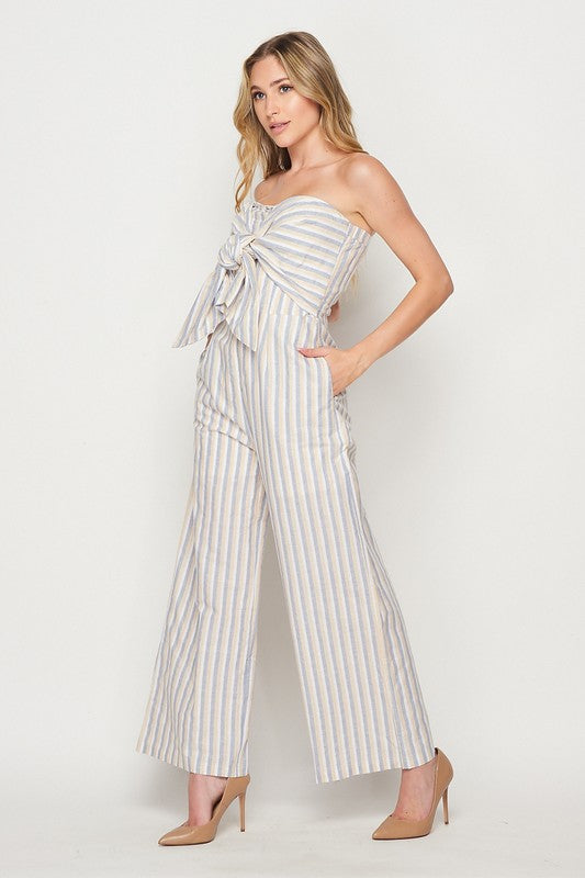 Stripe Off Shoulder Jumpsuit