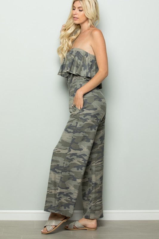 Strapless Camouflage Jumpsuit
