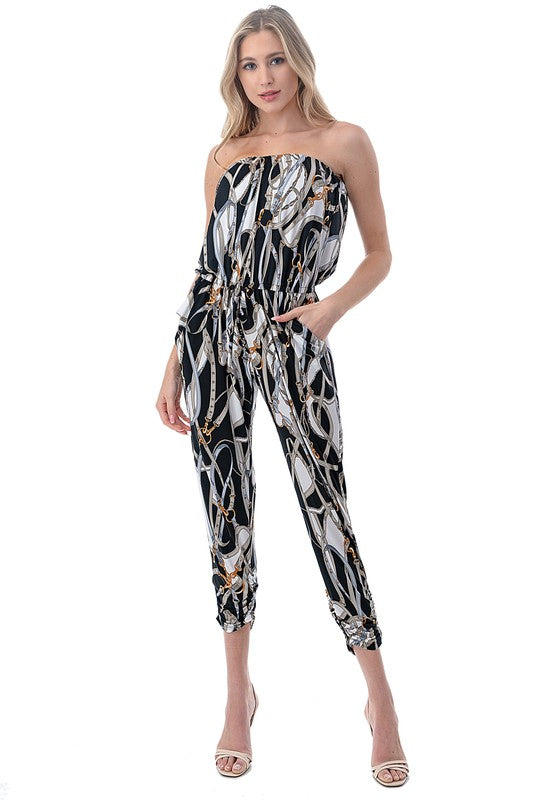 Strapless Chain Print Jumpsuit