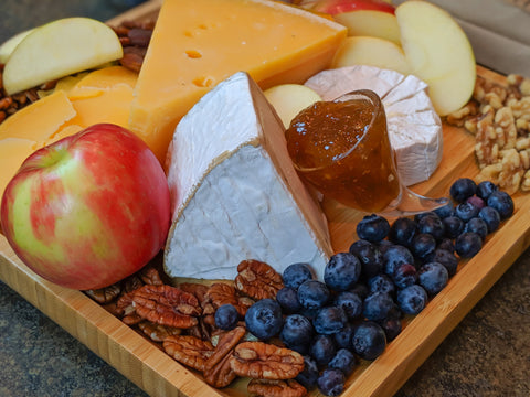 Cheese board with fig jam