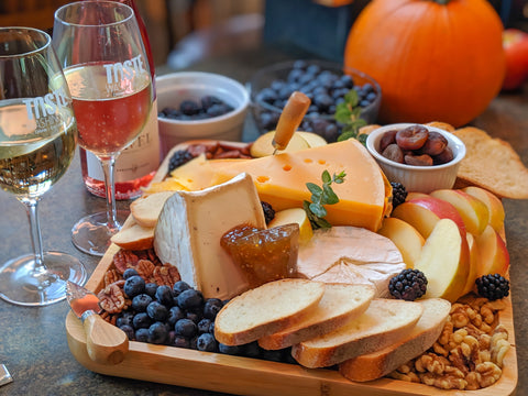Wine with cheese board