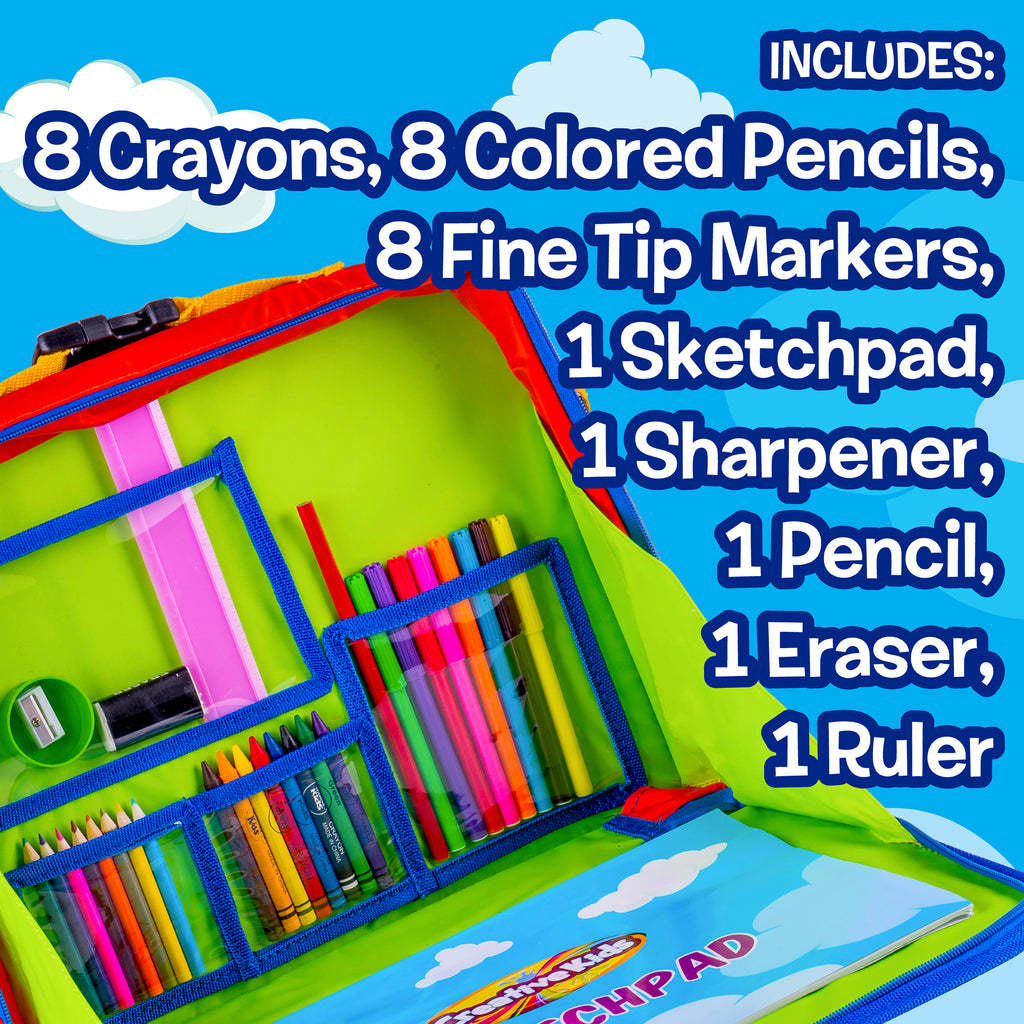 Back Pack Travel Fun Desk - Portable Car Seat Tray Organizer w/Drawing Coloring Set