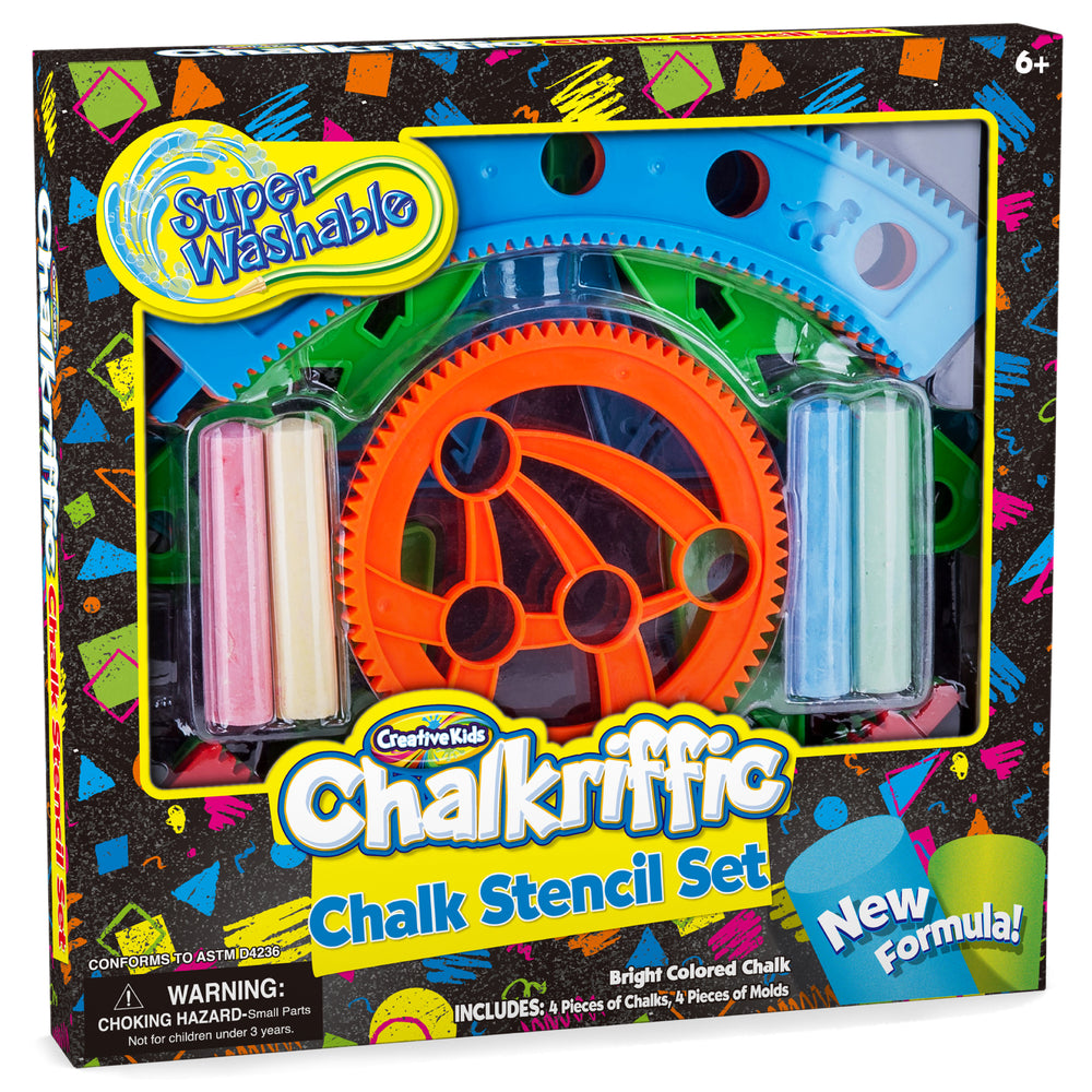 Washable Sidewalk Spiral Art Chalk Stencils Kit