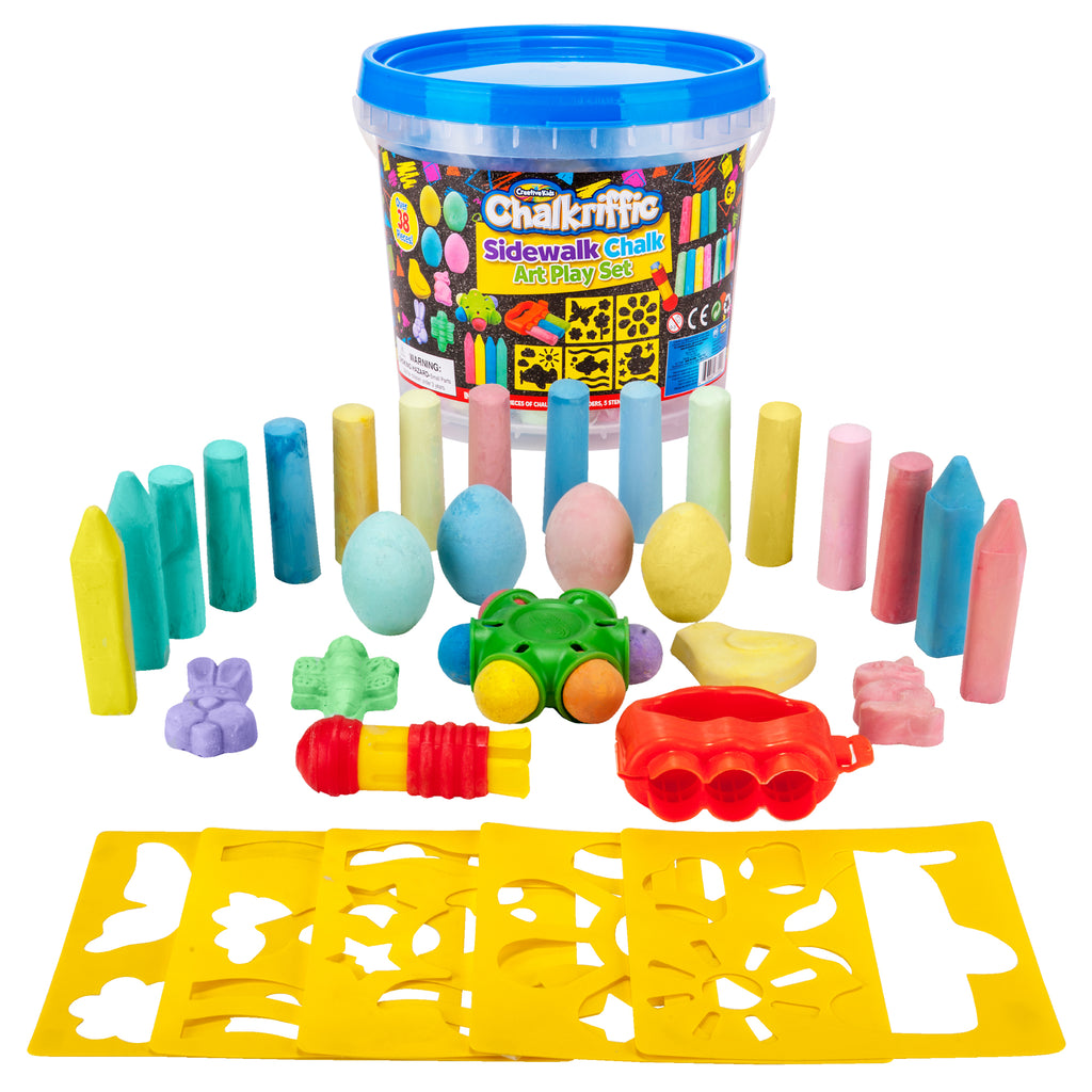 Premium Sidewalk Chalk Art Play Set - 38 PC Chalk Set