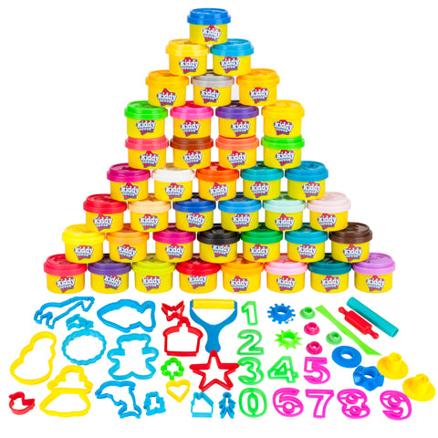 40 Pack Of Party Favors Play Dough + 40 Dough Tools - Bulk Party Pack