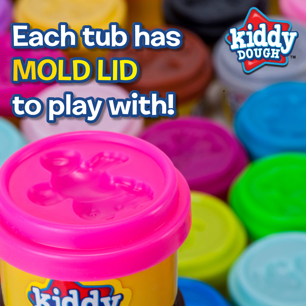 40 Pack Of Party Favors Play Dough + 40 Dough Tools - Bulk Party Pack (1 oz tubs)