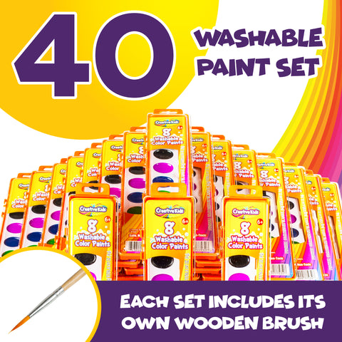Bulk Classroom Watercolor Paint & Brush Sets - 40 Pack